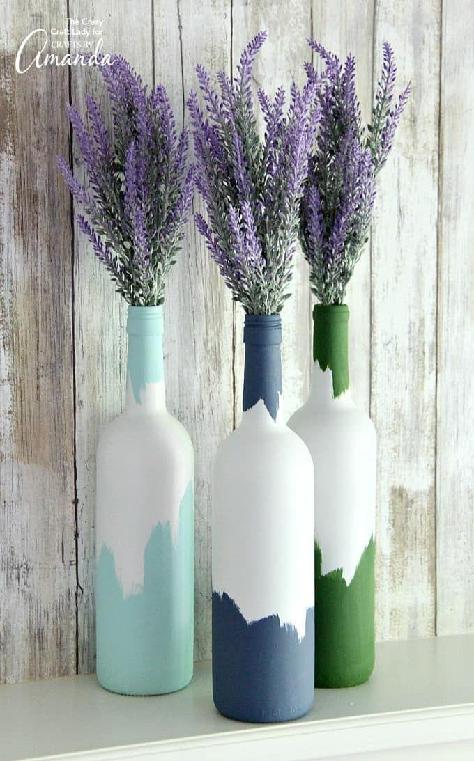 peinture sur bouteille recyclée pour décoration de table
