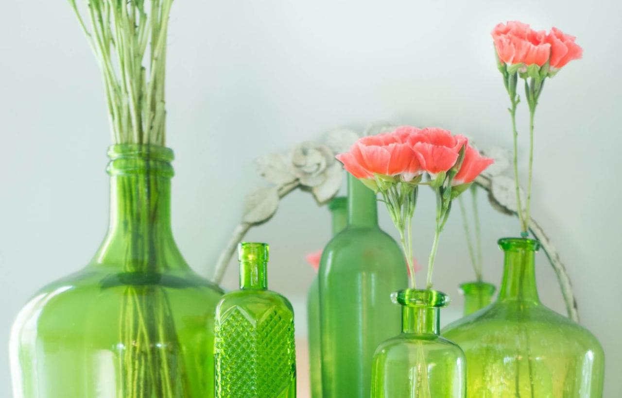 Bouteilles de verres de recyclage